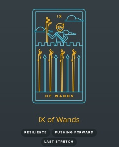 9 of Wands from the Golden Thread Tarot