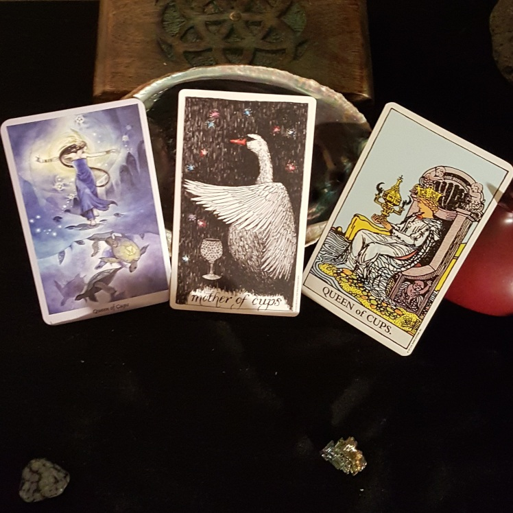 The Queen/Mother of Cups The Shadow Scapes Tarot, The Wild Unknown, The Smith Tarot